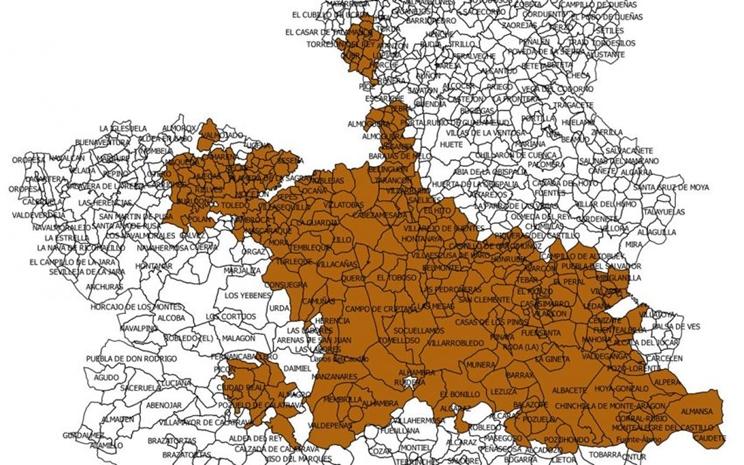 Mapa de localidades en emergencia cinegética / Fotografía: agroclm.com