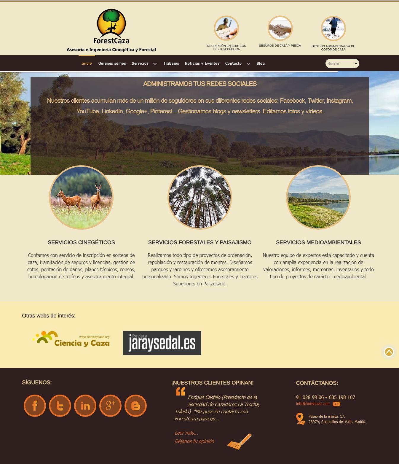 La empresa de gestión cinegética y forestal ForestCaza estrena nueva web