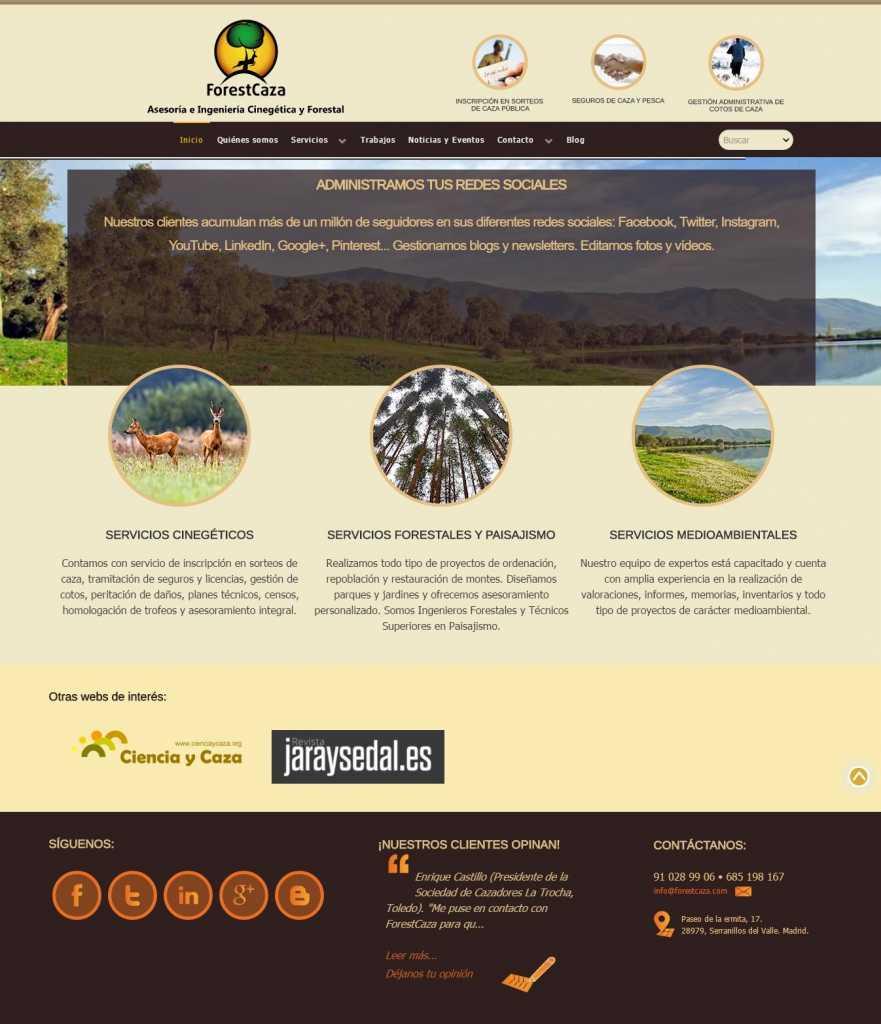 Aspecto nueva web ForestCaza 1