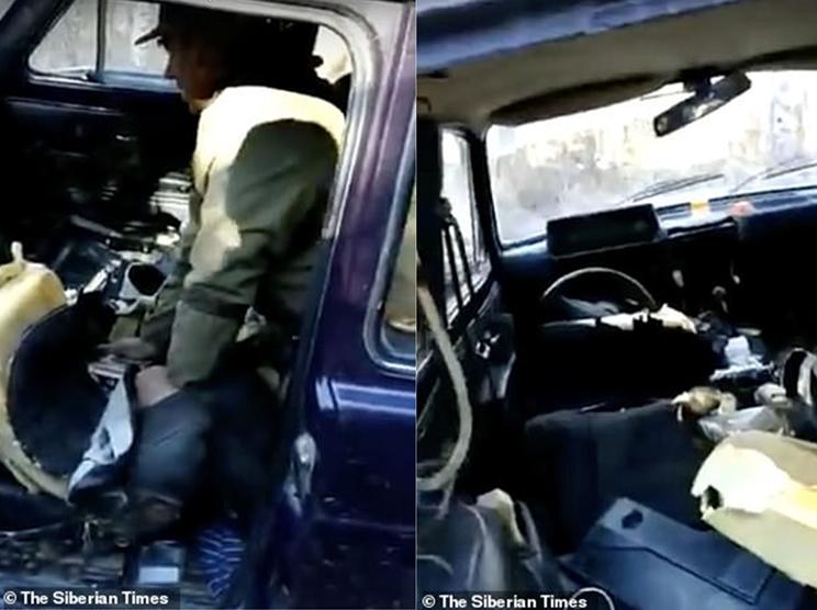 Estado del coche destrozado durante una cacería / Fotografía: www.dailymail.co.uk
