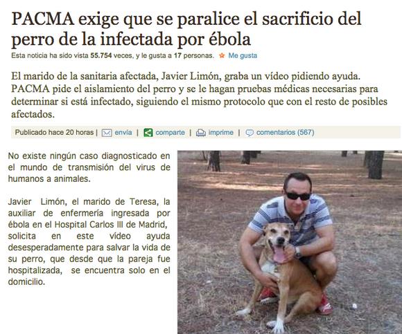 Grupos anticaza intentan evitar que el perro de la enfermera contagiada por ébola sea sacrificado