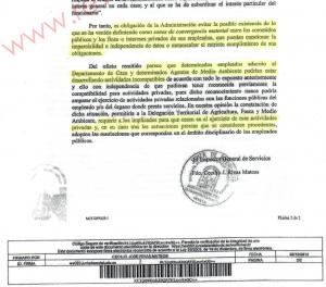 Imagen del informe al que ha tenido acceso www.revistajaraysedal.es en el que se declara la incompatibilidad entre practicar la actividad cinegética y trabajara en el Departamento de Caza de la Junta de Andalucía.