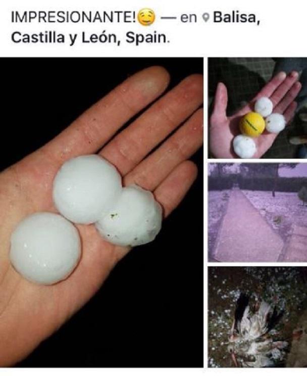 Granizo caídos en Castilla y León / Fotografía: Facebook