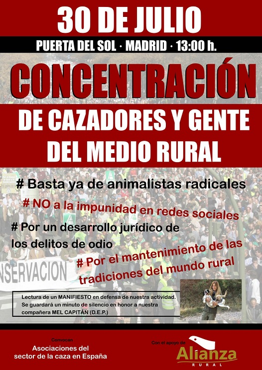 Cartel concentracion cazadores Madrid
