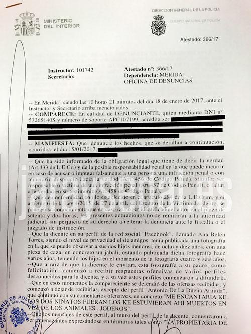 Texto de la denuncia al que Jara y Sedal ha tenido acceso.