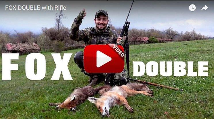 Doblete de zorros con rifle