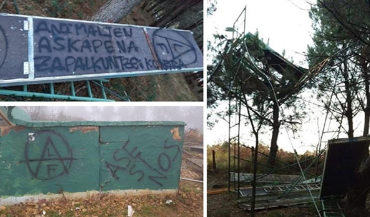 Ecoterroristas destrozan 25 torretas y varios puestos de caza en País Vasco y Navarra