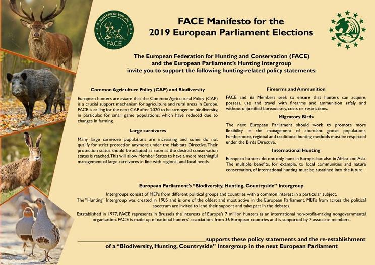 FACE llama al voto para apoyar la caza en las elecciones europeas