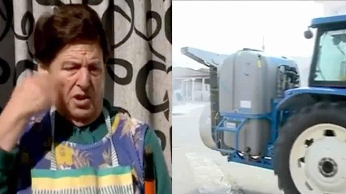 «Me ha fuñigao», el desternillante vídeo de una señora 'desinfectada' por un agricultor