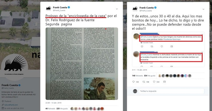 Frank Cuesta comparte prologo enciclopedia de la caza y le insultan