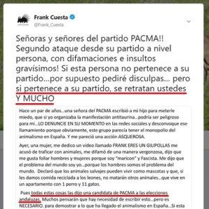 Frank Cuesta contesta a la candidata de PACMA que le insultó con mensajes homófobos