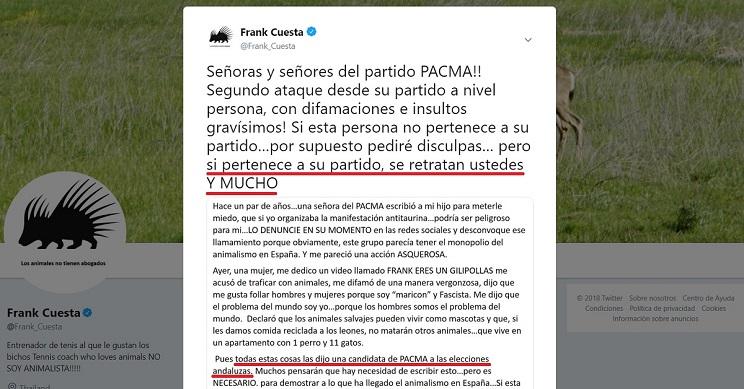 Frank Cuesta contesta a candidata de PACMA