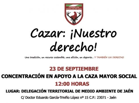 Crece el apoyo a la concentración de cazadores que se celebrará el lunes en Jaén