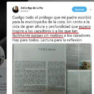 Este es el aplaudido mensaje de Odile Rodríguez de la Fuente sobre la caza