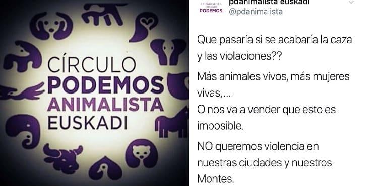 Una cuenta de Podemos compara a los cazadores con violadores en Twitter