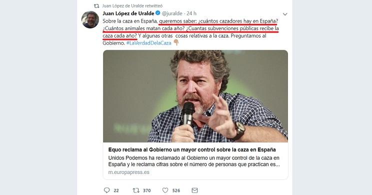Unidos Podemos reclama al Gobierno más control y datos sobre la caza y se lleva este 'zasca'