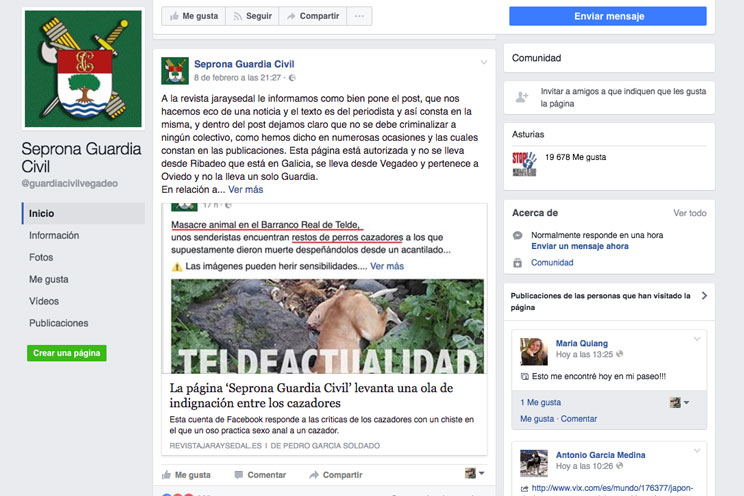 La Guardia Civil cerrará la cuenta de Facebook 'Seprona Guardia Civil'