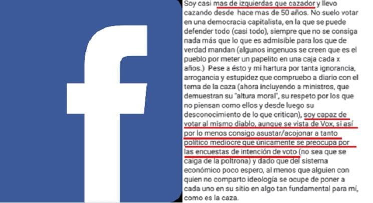 El mensaje de un cazador de izquierdas que arrasa en Facebook