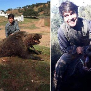 Caza con escopeta un enorme jabalí de 115 kilos con 19 centímetros de navajas