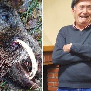 Un abuelo de 81 años caza un jabalí alunado cuyo colmillo se estaba clavando en su jeta