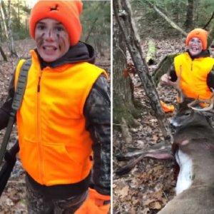Padre e hijo se emocionan después de cazar un gran ciervo