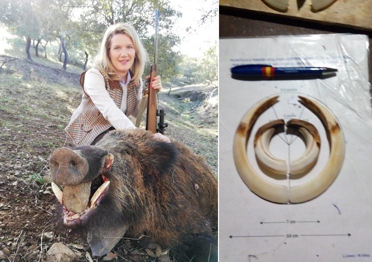 Una mujer caza un jabalí de 70 kilos con unos colmillos de escándalo