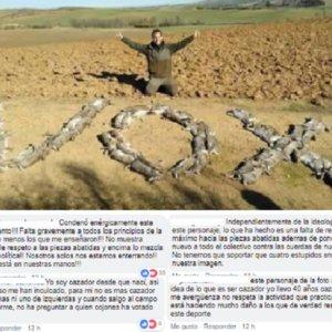 El mundo de la caza condena la foto de los conejos dibujando la palabra VOX