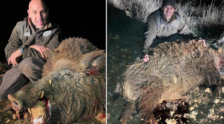 Caza un jabalí de 218 kilos tras 25 noches de espera en Valladolid