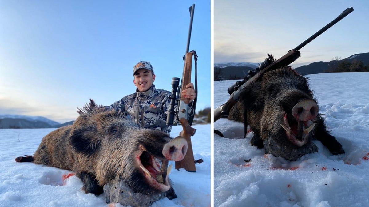 Un joven de 17 años caza un extraordinario jabalí recechando en la nieve