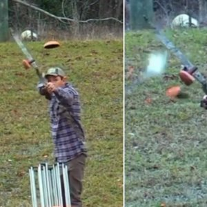 Este cazador tira al plato con arco y demuestra una admirable precisión
