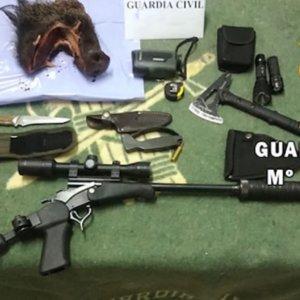 Los pillan con un rifle prohibido para cazar, la boca de un jabalí y un perro sin papeles en plena cuarentena