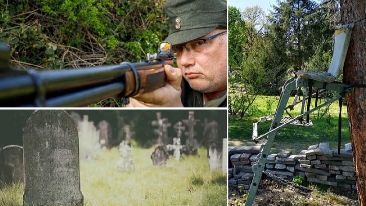 Este cazador monta un puesto en un cementerio para cazar a los zorros que excavan las tumbas