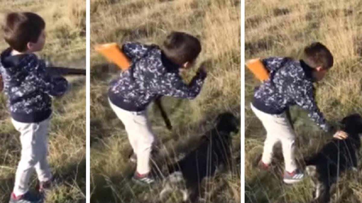 La escena de un niño con su cachorro de caza en plena muestra enamora a los cazadores