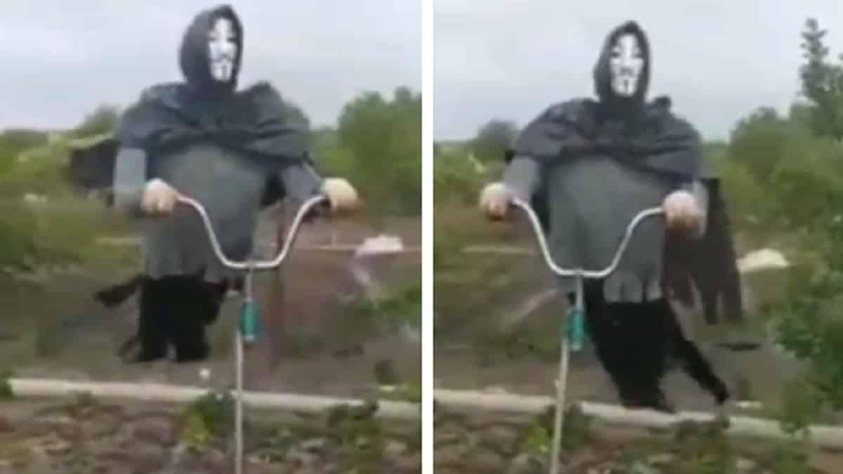 Fabrican un espanta-jabalíes con una máscara de La Casa de Papel que podría asustar a cualquiera