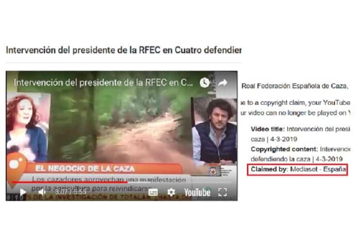 La RFEC denuncia que Mediaset «censura el vídeo en el que tumba a una anticaza»
