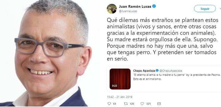 PACMA afirma que «tu madre» y «tu perro» valen lo mismo y Juan Ramón Lucas le responde con este 'zasca'