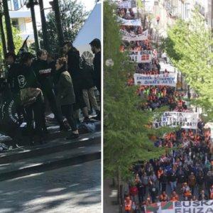 50 anticaza protestan frente a 15.000 cazadores en San Sebastián