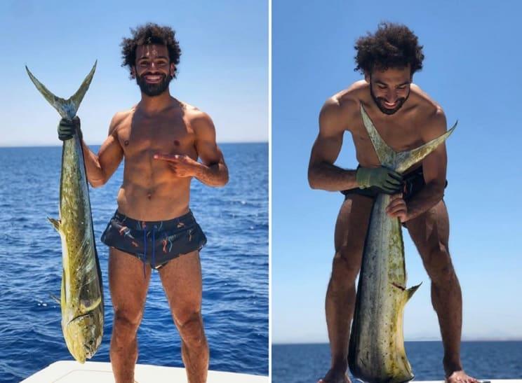 El futbolista Mohamed Salah se va de pesca tras ganar la Champions