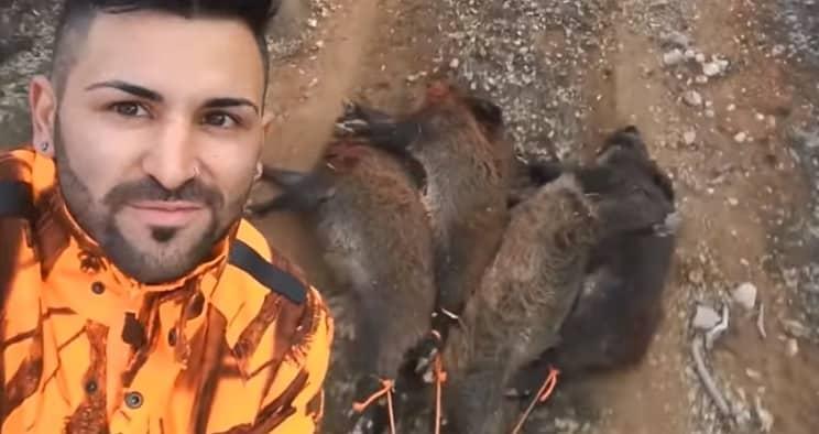 Caza siete jabalíes en un mismo puesto durante una humilde batida por daños