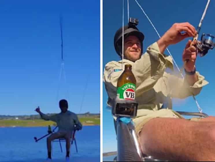 Este pescador usa un dron para desplazarse, pero le saldrá caro