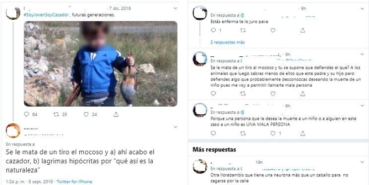Una animalista a un niño de 4 años: «Se mata de un tiro al mocoso y ahí acabó el cazador»