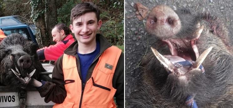 Un jovencísimo perrero, protagonista de la caza de un colosal jabalí