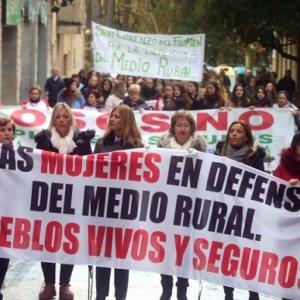 Mujeres ganaderas se manifiestan contra el oso y el lobo en los Pirineos