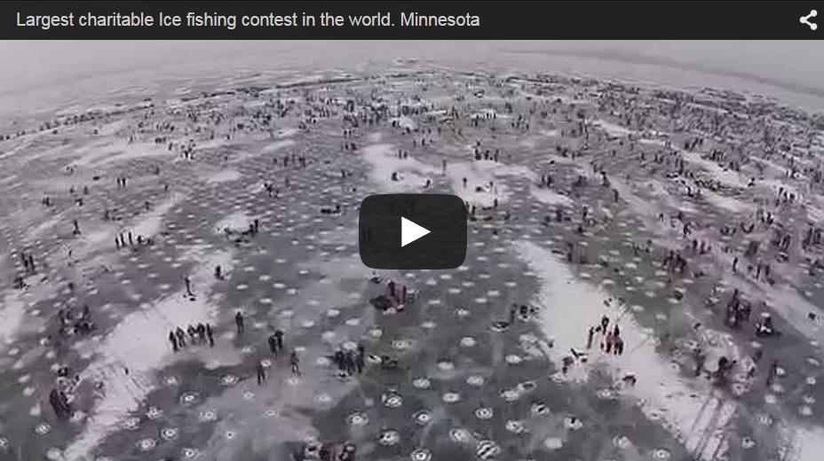 11.000 pescadores sobre un lago congelado. Concurso de pesca.