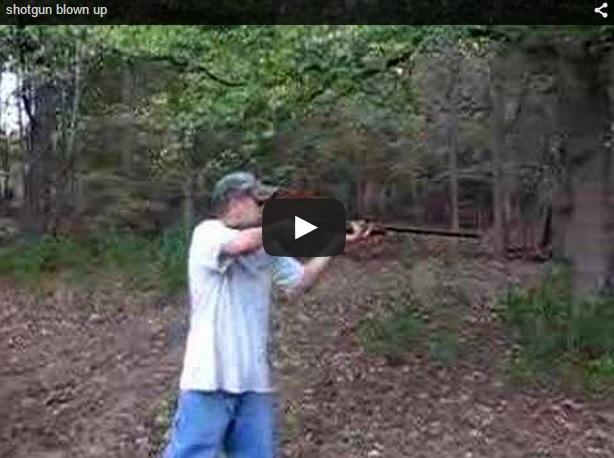 Dispara un cartucho recargado manualmente y ¡¡le explota la escopeta en las manos!!