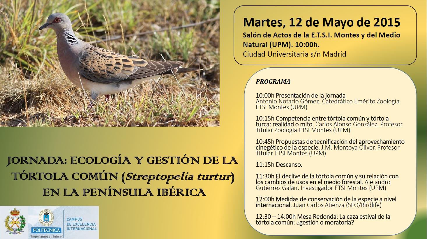 La Catedra de Zoología de la Escuela de Ingenieros de Montes de Madrid (UPM) organiza una jornada sobre la gestión y ecología de la tórtola común