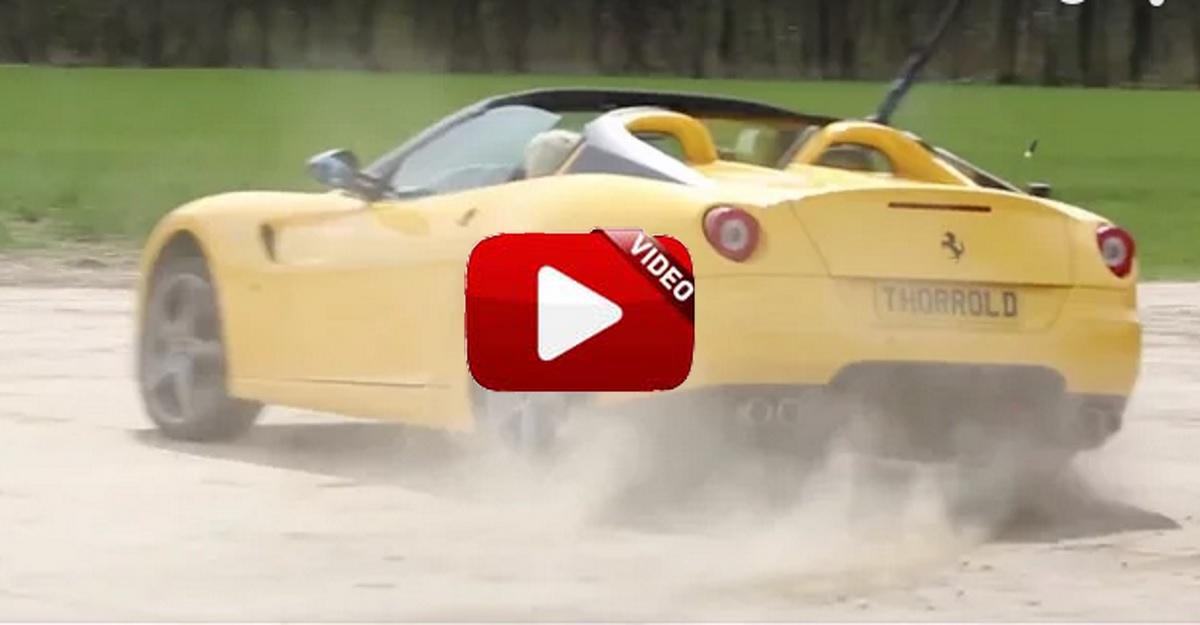 Temeraria diversión: practica el tiro al plato desde un Ferrari derrapando