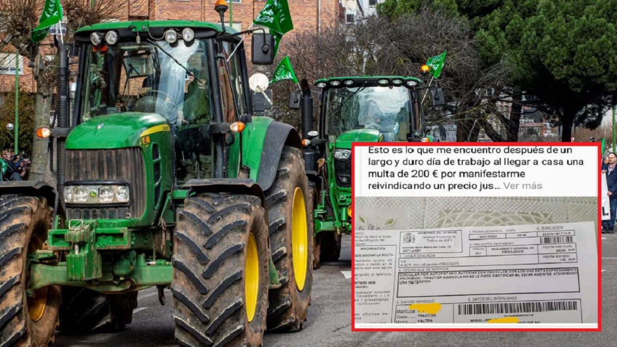 Los agricultores comienzan a recibir multas de tráfico por las tractoradas