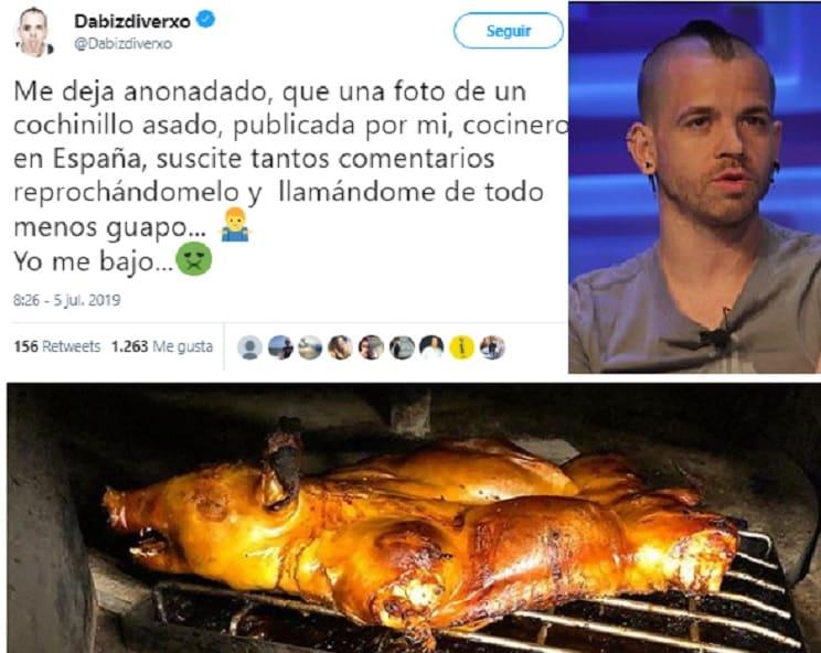 Llaman «asesino» al chef Dabiz Muñoz por publicar una foto de un cochinillo