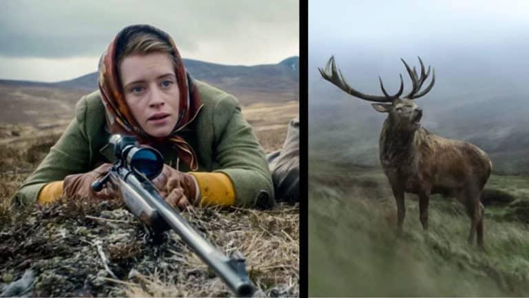 Escena de caza con la Reina Isabel II en The Crown. © Netflix